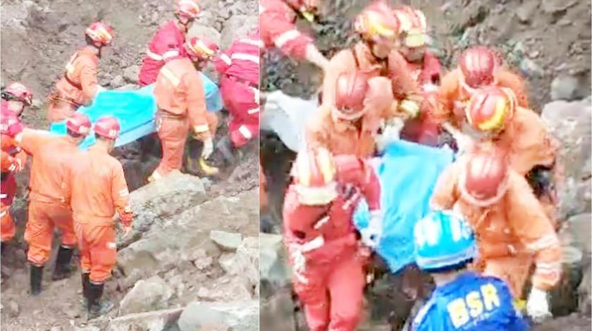 四川达州路面塌陷最后两名失踪父子找到
