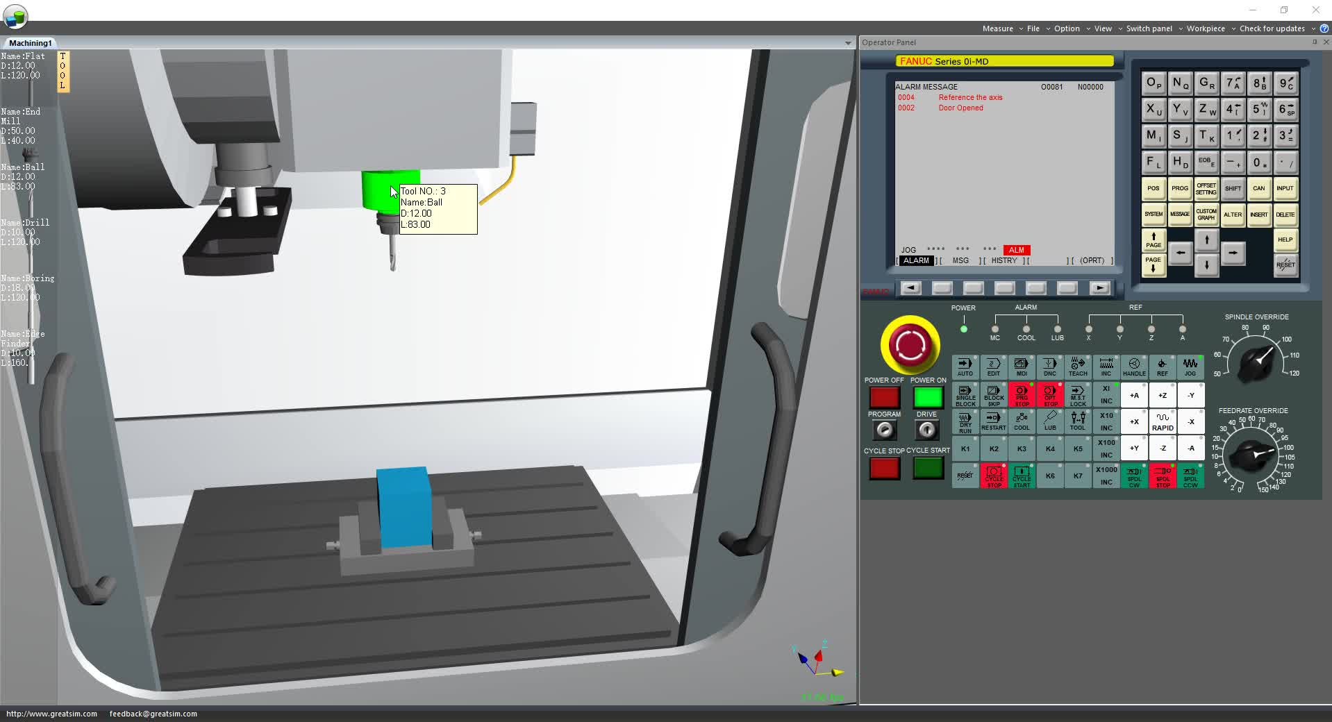 Machining数控加工中心发那科对刀以及G51.1镜像调用子程序演示