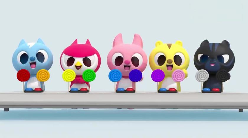萌萌卡通人排队吃彩色棒棒糖,认识靓丽色彩真有趣